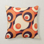 Retro Orange and Brown Fifties Abstract Art Pillow