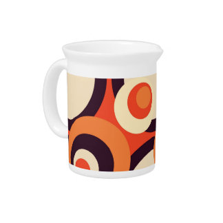 Retro Orange and Brown Fifties Abstract Art Drink Pitchers