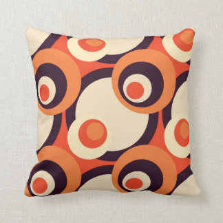 Retro Orange and Brown Fifties Abstract Art Throw Pillow