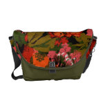 Retro Orange and Green Floral Pattern Courier Bag