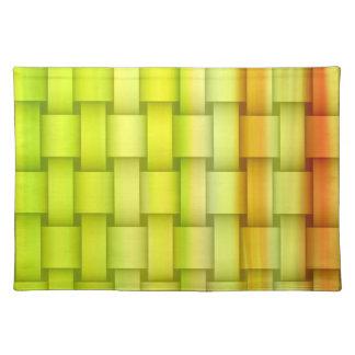 Retro orange and green graphic design cloth placemat