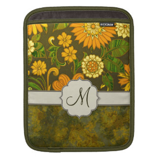 Retro Orange and Olive Jungle Floral with Monogram Sleeve For iPads