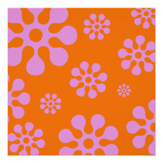 Retro Orange And Pink Floral Abstract Poster
