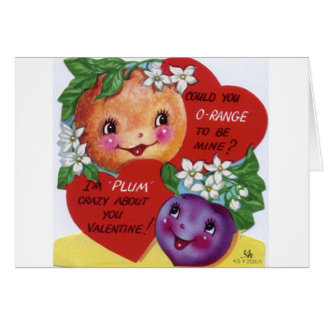 Retro Orange And Plum Valentine's Day Card