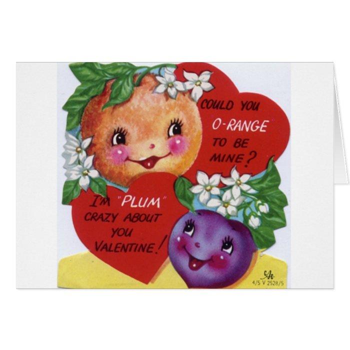 Retro Orange And Plum Valentine's Day Card