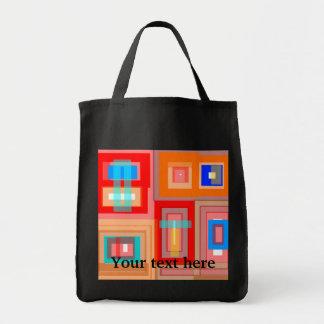 Retro orange blue squares canvas bag