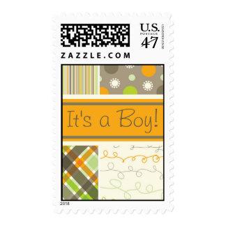 Retro Orange Brown Combo Baby Announcement Stamps