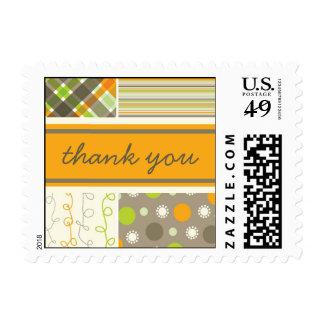 Retro Orange & Brown Combo Pattern Thank You Stamp