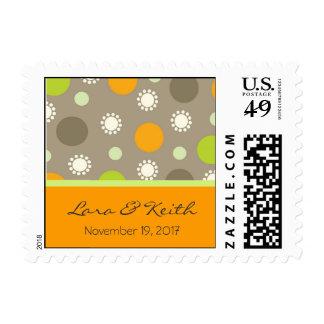 Retro Orange Brown Green Dots Save Date / RSVP /TQ Postage