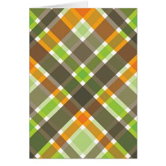 Retro Orange Brown Green Plaid Blank Card