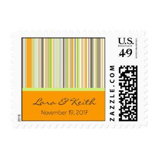 Retro Orange Brown Green Stripes Save-the-Date / Postage