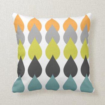 Retro Orange Chartreuse Yellow Aqua Throw Pillow