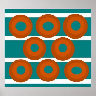 Retro orange circles on teal background poster
