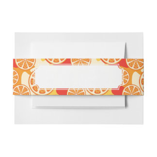 Retro Orange Citrus Pattern Invitation Belly Band