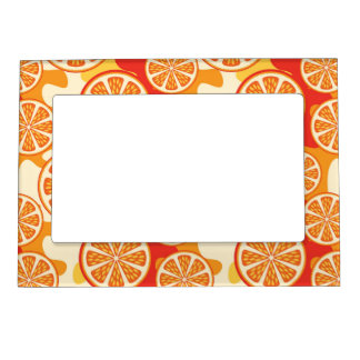 Retro Orange Citrus Pattern Magnetic Photo Frame