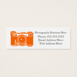 Retro Orange Color Film Camera Business Card