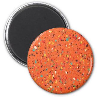 Retro Orange Confetti Speckled 2 Inch Round Magnet