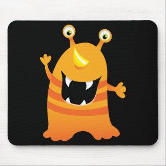 Retro Orange Cute Monster Mousepads