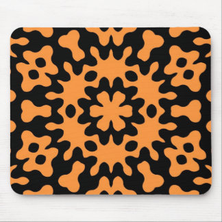 Retro Orange Floral Abstract Art Mouse Pad
