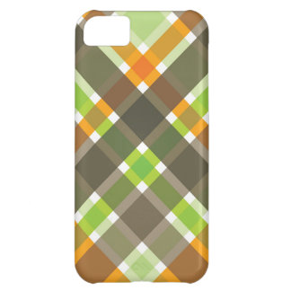 Retro Orange Green Brown Plaid Checks Chic Pattern Case For iPhone 5C