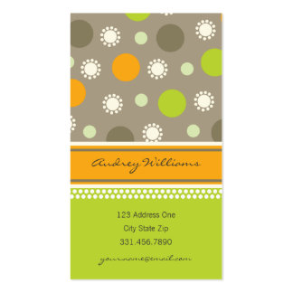 Retro Orange Green Dots Fun Pattern Profile Card Double-Sided Standard Business Cards (Pack Of 100)