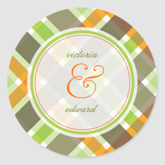 Retro Orange Green Plaid Checks Wedding Sticker