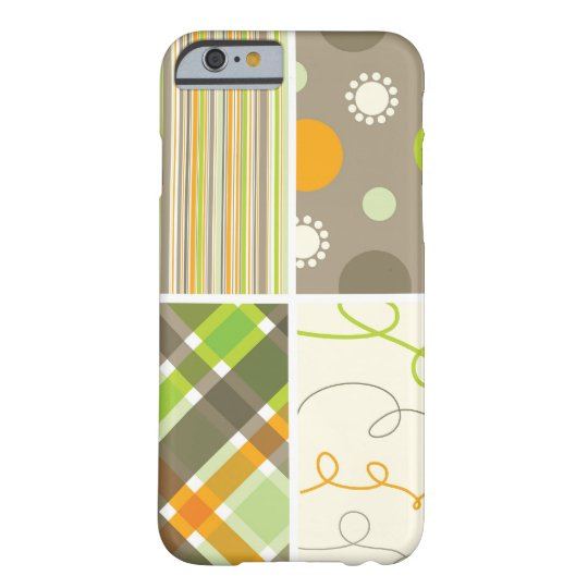 Retro Orange Green Plaid Pattern Dots Scribbles Barely There iPhone 6 Case