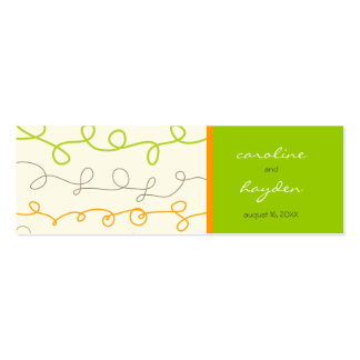Retro Orange Green Scribble Fun Thank You Gift Tag Business Card Template