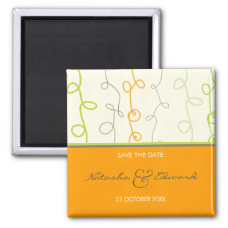 Retro Orange Green Scribble Save The Date Magnet