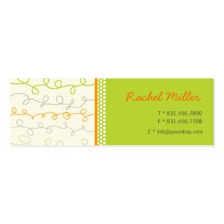 Retro Orange Green Scribbles Pattern Profile Card Mini Business Card