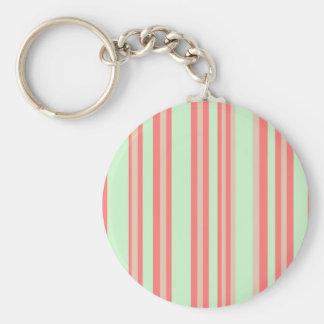 retro orange green stripes basic round button keychain