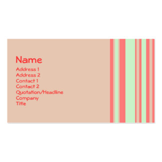 retro orange green stripes Double-Sided standard business cards (Pack of 100)