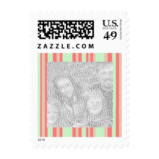 retro orange green stripes photoframe postage stamp