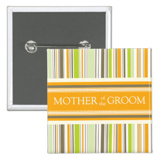 Retro Orange Green Stripes Wedding Name Tag Button