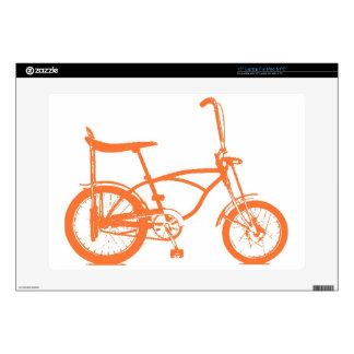 """Retro Orange Krate Banana Seat Bike 15"""" Laptop Skins"""