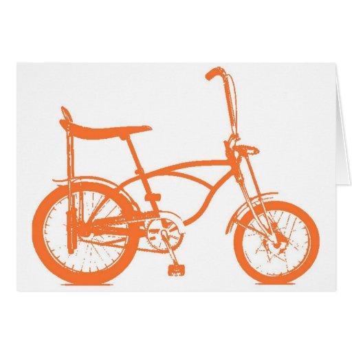 Retro Orange Krate Banana Seat Bike Card