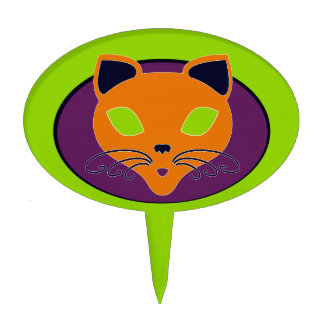 Retro Orange Lime Halloween Cat Cake Topper