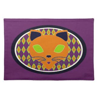 Retro Orange Lime Halloween Cat Cloth Placemat