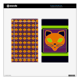Retro Orange Lime Halloween Cat Decal For Kindle Fire