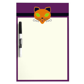 Retro Orange Lime Halloween Cat Dry-Erase Board