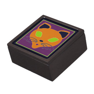 Retro Orange Lime Halloween Cat Jewelry Box