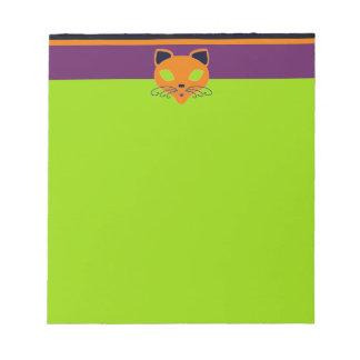 Retro Orange Lime Halloween Cat Notepad