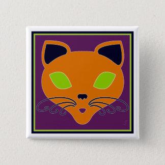 Retro Orange Lime Halloween Cat Pinback Button