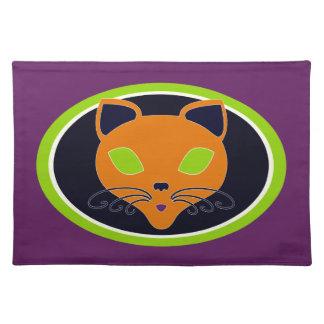 Retro Orange Lime Halloween Cat Placemat