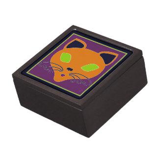 Retro Orange Lime Halloween Cat Premium Trinket Boxes