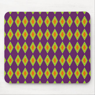 Retro Orange Lime Harlequin Mouse Pad