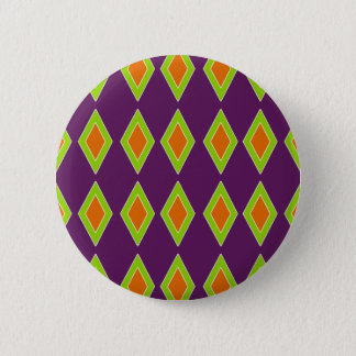 Retro Orange Lime Harlequin Pinback Button