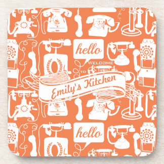 Retro Orange or Any Color Telephone Pattern Coaster
