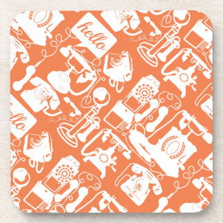Retro Orange or Any Color Telephone Pattern Drink Coaster