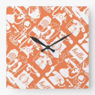 Retro Orange or Any Color Telephone Pattern Square Wall Clock